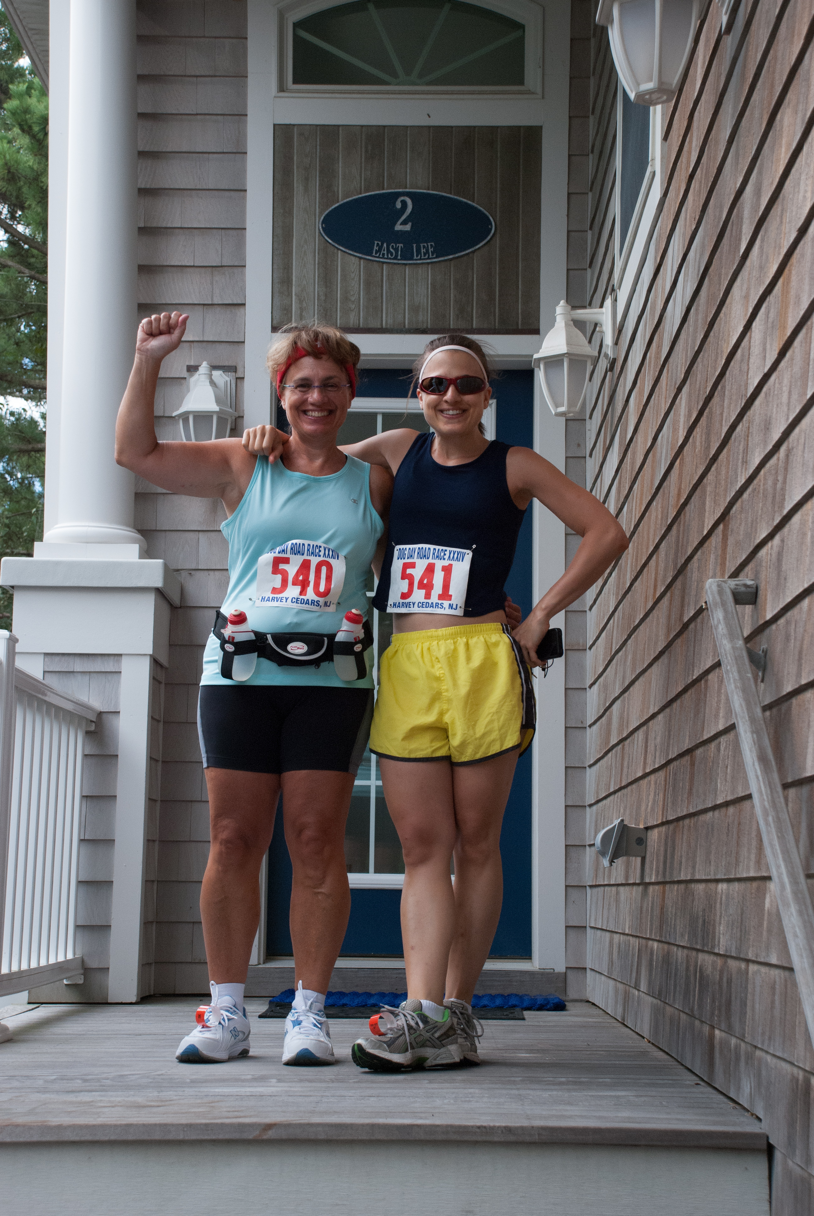 DSC_9962.jpg - Jayne and Jackie ready for the 2012 Harvey Cedars Dog Day Race.